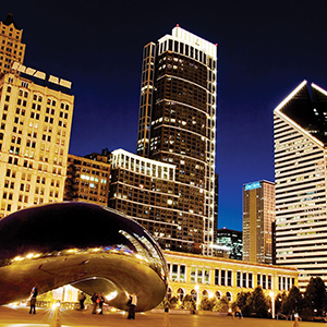 Millenium Park and Cloud Gate at Night